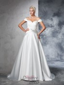Ball Gown Taffeta Off-the-Shoulder Ruched Chapel Train Wedding Dress