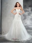 Sheath/Column Sweetheart Court Train Satin Wedding Dress