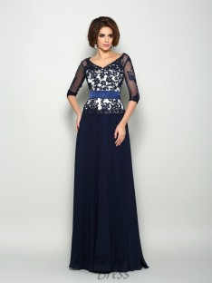 1/2 Sleeves Chiffon V-neck Long Mother of the Bride Dress