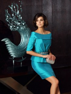 1/2 Sleeves Off-the-Shoulder Knee-Length Taffeta Mother of the Bride Dress