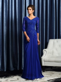 3/4 Sleeves Chiffon Long Mother of the Bride Dress