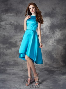 A-line Bateau Asymmetrical Satin Bridesmaid Dress