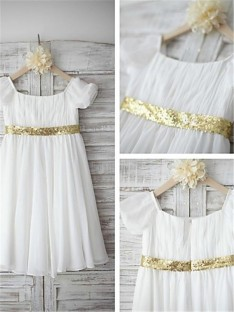 A-line Bateau Beading Tea-length Chiffon Flower Girl Dress