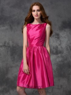A-line Bateau Knee-length Ruched Taffeta Bridesmaid Dress