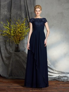 A-line Bateau Long Chiffon Mother of the Bride Dress
