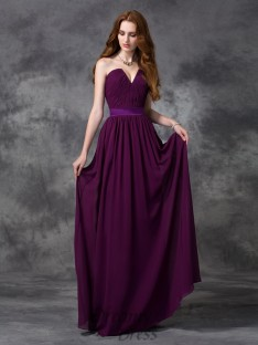 A-line Chiffon Sweetheart Ruched Floor-length Bridesmaid Dress