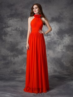 A-line Halter Hand-Made Flower Floor-Length Chiffon Bridesmaid Dress