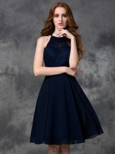 A-line Halter Lace Knee-length Chiffon Bridesmaid Dress