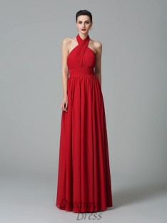 A-line Halter Ruffles Floor-Length Chiffon Bridesmaid Dress