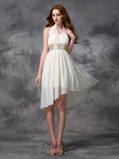 A-line Halter Sequin Asymmetrical Chiffon Cocktail Dress