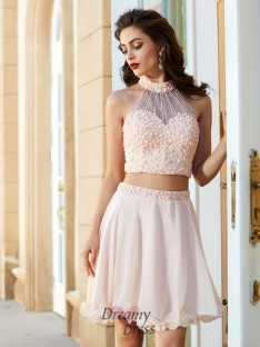 A-Line Halter Sleeveless Chiffon Short Two Piece Dress with Beading