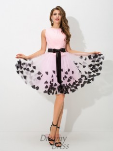 A-line High Neck Bowknot Short Net Cocktail Dress