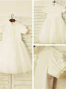 A-line High Neck Lace Tea-Length Tulle Flower Girl Dress