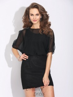 A-line Jewel 1/2 Sleeves Short Chiffon Dress