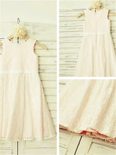 A-line Jewel Tea-length Lace Flower Girl Dress