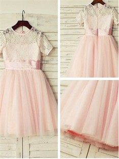 A-line Jewel Lace Tea-length Tulle Flower Girl Dress