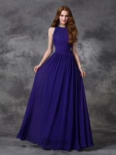 A-line Jewel Ruched Floor-length Chiffon Bridesmaid Dress