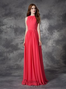 A-line Jewel Ruffles Floor-Length Chiffon Bridesmaid Dress