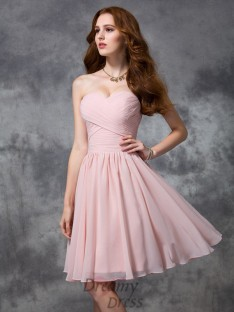 A-line Knee-length Sweetheart Ruched Chiffon Bridesmaid Dress