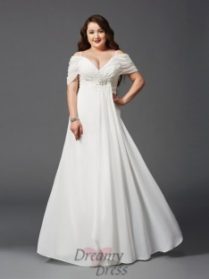 A-line Off-the-Shoulder Long Chiffon Plus Size Dress