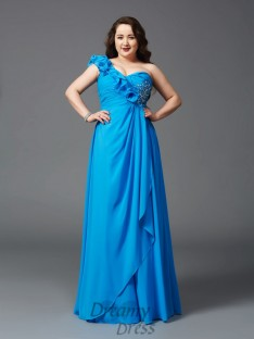 A-line One-Shoulder Floor-Length Chiffon Plus Size Dress
