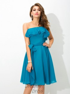 A-line One-Shoulder Knee-Length Silk like Satin Bridesmaid Dress