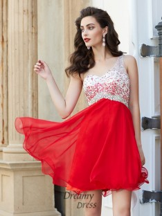 A-Line One-Shoulder Sleeveless Chiffon Short Dress with Beading