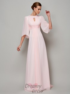 A-Line/Princess 1/2 Sleeves High Neck Sweep/Brush Train Chiffon Dress