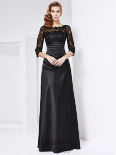 A-line/Princess 3/4 Sleeves Off-the-shoulder Elastic Woven Satin Dress