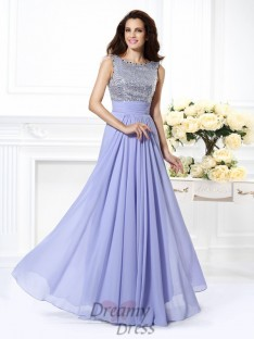 A-Line/Princess Bateau Lace Chiffon Long Dress