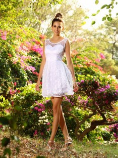 A-Line/Princess Bateau Lace Short/Mini Bridesmaid Dress