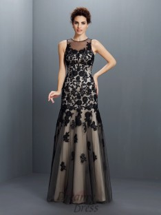 A-Line/Princess Bateau Satin Long Dress