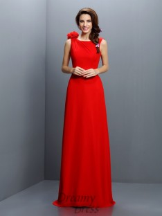 A-Line/Princess Bateau Sweep/Brush Train Chiffon Bridesmaid Dress