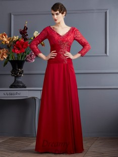 A-Line/Princess Chiffon 3/4 Sleeves Floor-Length V-neck Dress