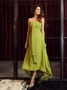 A-Line/Princess Chiffon Asymmetrical Strapless Bridesmaid Dress
