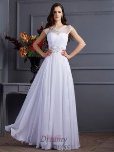 A-Line/Princess Chiffon Bateau Short Sleeves Floor-Length Dress