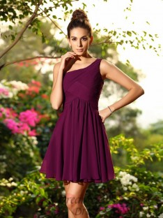 A-Line/Princess Chiffon One-Shoulder Short/Mini Bridesmaid Dress