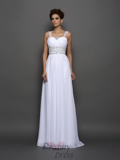 A-Line/Princess Chiffon Straps Court Train Wedding Dress