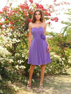 A-Line/Princess Chiffon Sweetheart Knee-Length Bridesmaid Dress