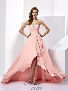 A-Line/Princess Chiffon Sweetheart Sweep/Brush Train Dress