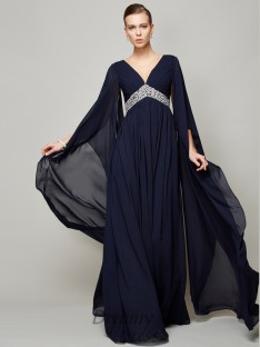 A-Line/Princess Chiffon V-neck Long Sleeves Floor-Length Dress