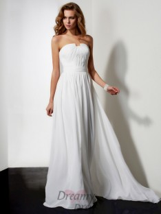 A-line/Princess Floor-length Strapless Chiffon Dress