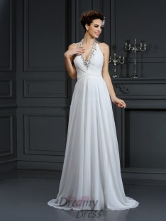 A-Line/Princess Halter Court Train Chiffon Wedding Dress