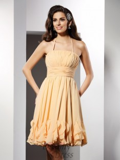 A-Line/Princess Halter Knee-Length Chiffon Dress