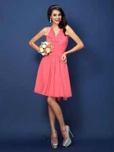 A-Line/Princess Halter Short/Mini Chiffon Bridesmaid Dress