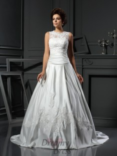 A-Line/Princess High Neck Chapel Train Satin Wedding Dress