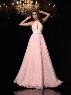 A-Line/Princess High Neck Chiffon Floor-Length Dress