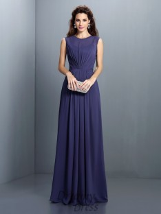 A-Line/Princess High Neck Chiffon Long Dress