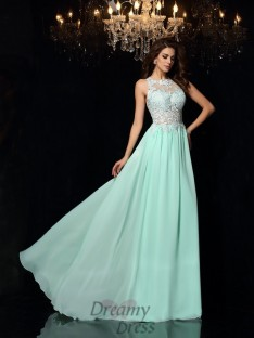 A Line Princess High Neck Chiffon Sweep Brush Train Dress