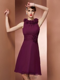 A-Line/Princess High Neck Hand-Made Flower Knee-Length Bridesmaid Dress